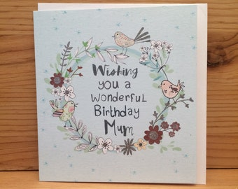 Mum Happy Birthday CardPeel CardsBirthday CardMumBirds Greetings CardHappy Birthdayflowers Special Card Mother G11
