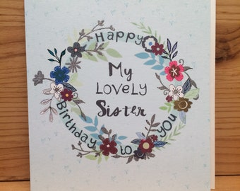 Sister Birthday CardBirthday CardflowersPinkGreetings CardHappy To Youflowersspecial Card Girl G31