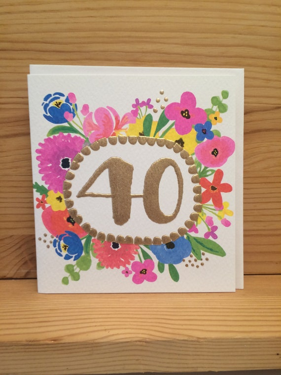 40th Birthday CardfortyHappy CardPink