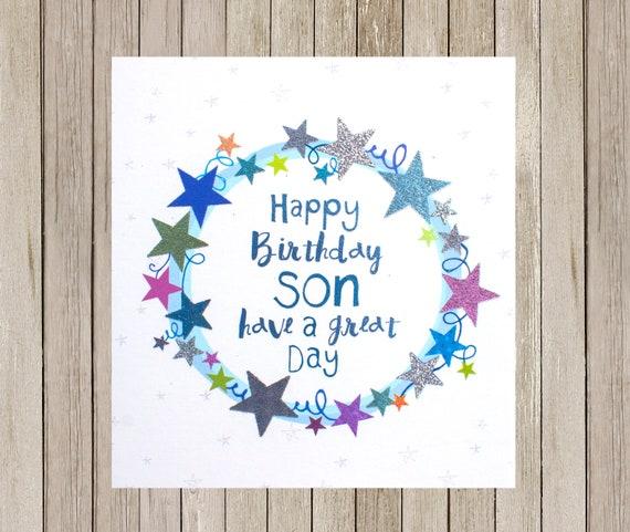Miraculous Son Birthday Cardbirthday Son Cardstars Blue Son Greetings Etsy Personalised Birthday Cards Cominlily Jamesorg