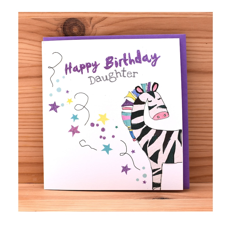 Daughter Birthday CardBirthday Card For DaughterZebra