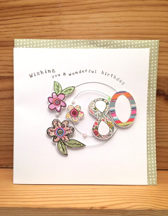 80th Birthday Card Handmade Cardspecial Cardeighty Beads