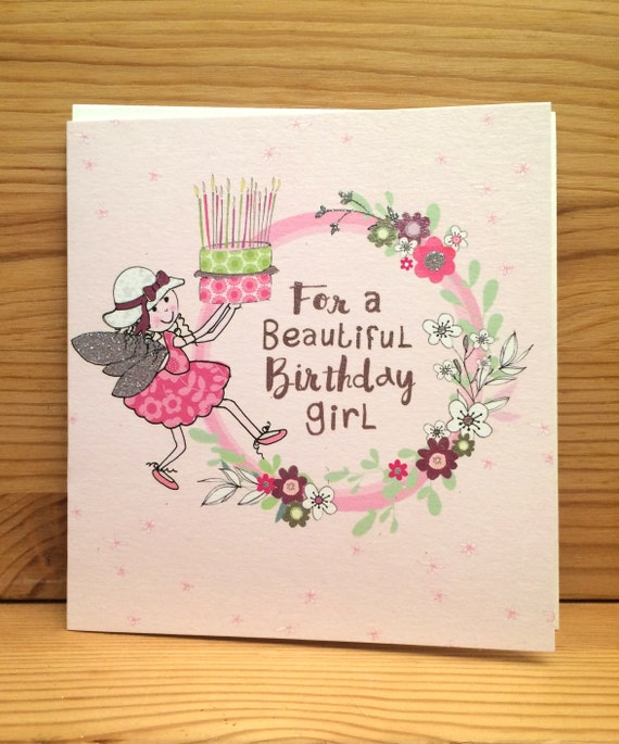 Birthday Girl Card Peel Cardshappy Birthday Cardfairy Etsy