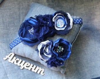 Blue flower headband, Dark blue bandage, Baby headbands for babies, baby girl gift, newborn headband, girls blue hair accessories, girl gift