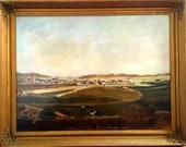 Rare antique 1860s oil painting Scottish historical folk landscape scene cows village people Thurso near Oldfield