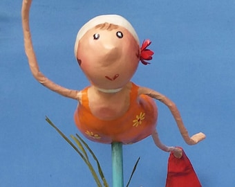 Out For a Swim... Paper mache figurine, one of a kind gift.