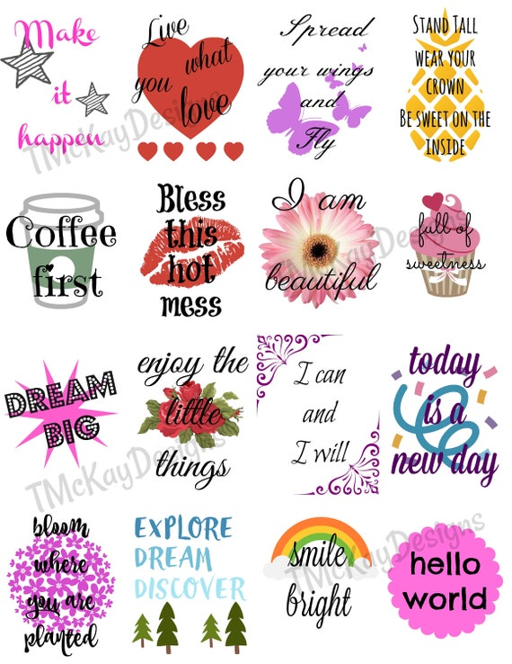 inspirational quote stickers planner stickers printable etsy