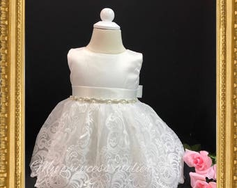 73589e2fc Lace christening dress/ baby girl baptism dress/ lace christening gown/  white flower girl dress/ baptism gown / white blessing dress /