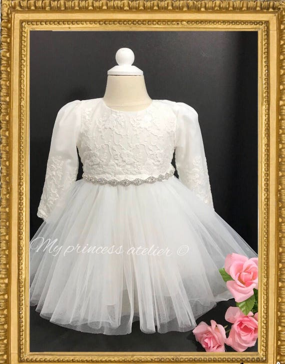d0ee398f8a820 Baby girl christening dress, lace baptism dress, long sleeve christening  dress, girl white dress, dedication dress, white flower girl dress