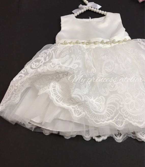 Lace Christening Dress Baby Girl Baptism Dress Lace Christening Gown White Flower Girl Dress Baptism Gown White Blessing Dress