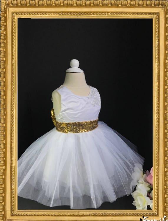 e5be88fedb White gold sequin dress first birthday dress big bow dress
