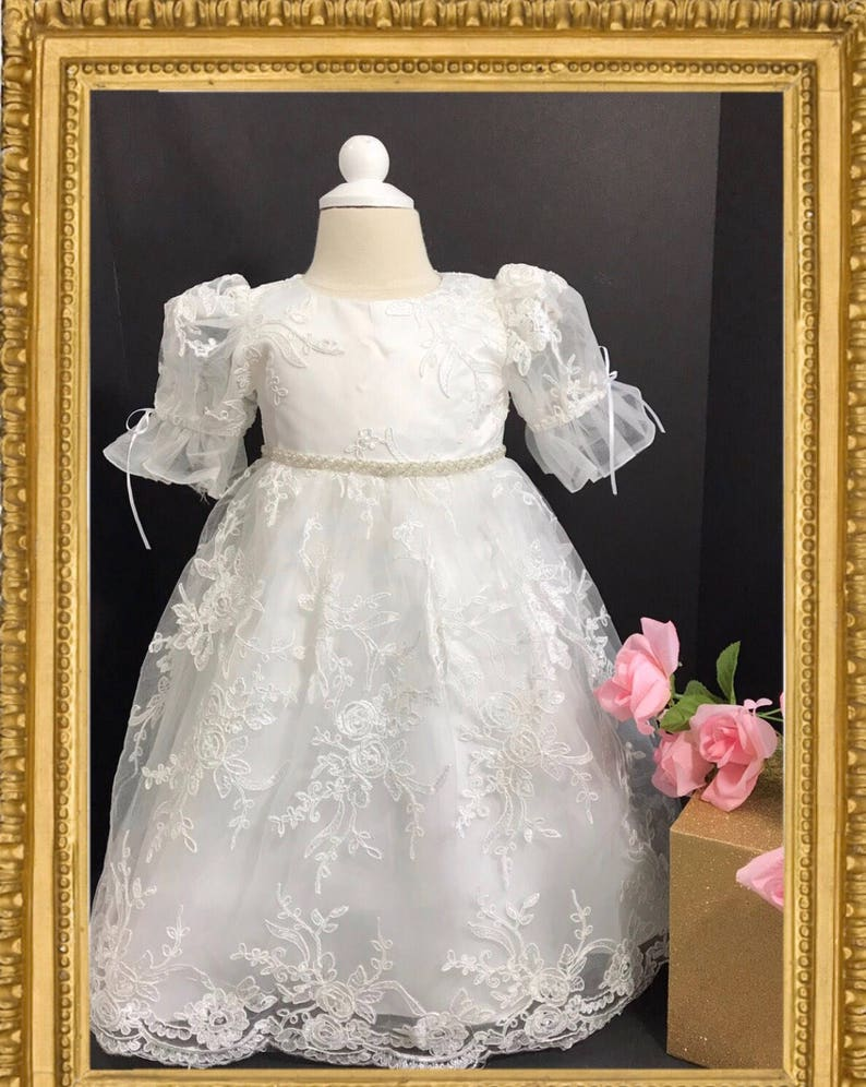 73310c1a3 Baby christening gown lace baptism gown baptism dress girl | Etsy