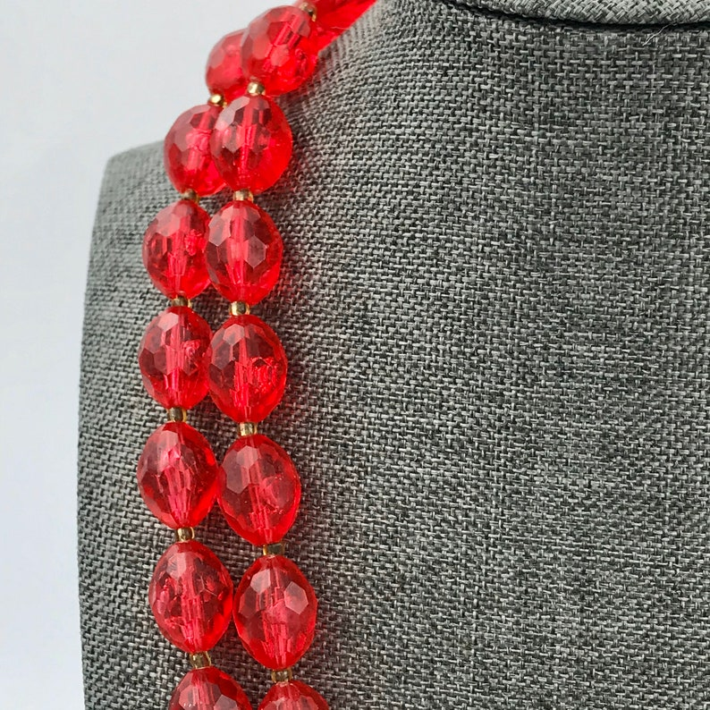 1950s Mid Century Signed Hong Kong Vintage Red Faceted Bead Double Strand Fancy Necklace