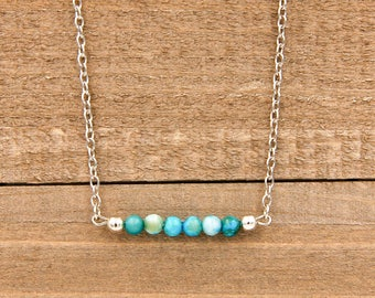 Turquoise Bar Necklace, FREE Shipping, Horizontal Bar Necklace, Layered Necklace, Silver Necklace, Boho, Gift for Her, Birthday Gift