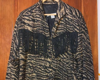 Vintage Women's Bomber Leapord Print Jacket W/ Tassels L