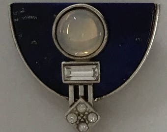 Art Deco Style Lapis Lazuli and Moonstone Brooch/Necklace  by E Koller Austria marked '925'
