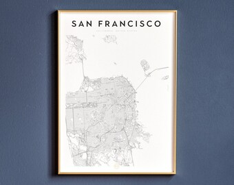 picture relating to Printable Map of San Francisco called San francisco map Etsy