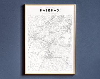 Map Of Fairfax Fairfax Virginia Map Fairfax Wall Art Fairfax VA Map Print Ships from USA /& EU Fairfax Map Poster