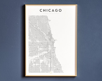 Chicago Map Wall Art Chicago map | Etsy