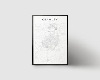 Crawley Map Print