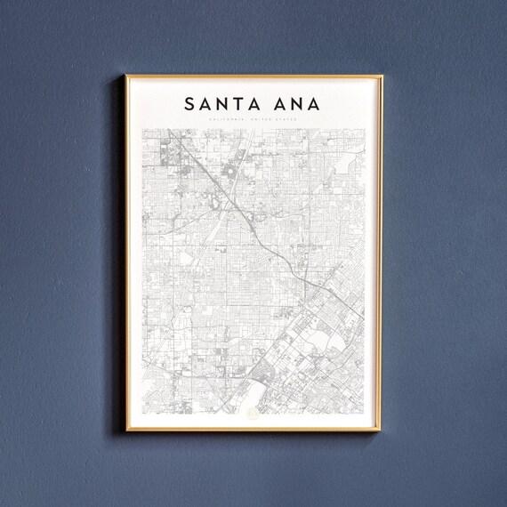 Santa Ana Map Print | Wall Decor | Map | Poster | Print | Art Print on huntington beach map, john wayne airport map, san francisco map, los angeles map, rancho santa margarita map, las vegas map, los robles map, rancho blanco map, la saladita map, rancho santa fe map, sacramento map, caborca map, downieville map, fresno map, oakland map, rancho mission viejo map, east compton map, south andros map, bakersfield map, el golfo de santa clara map, san diego map, anaheim map, san pablo map, laguna beach map, san jose map, playa santa teresa map, la frontera map, woodlake map,