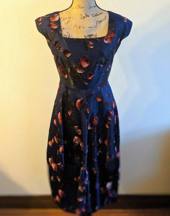 1950s Saks Fifth Avenue Navy Blue Floral Evening Dress