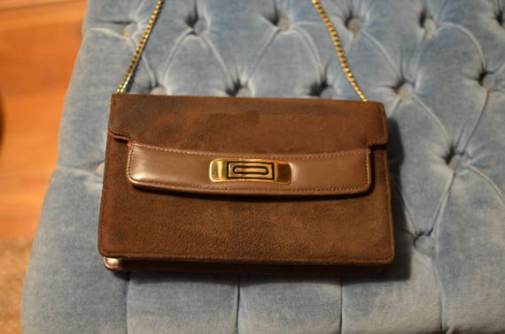 1950s Brown Suede Leather Clutch Evening Purse with Gold Chain  3d64d5af057c1