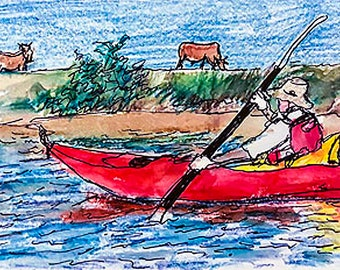 Kayaking and Cattle-print on tile