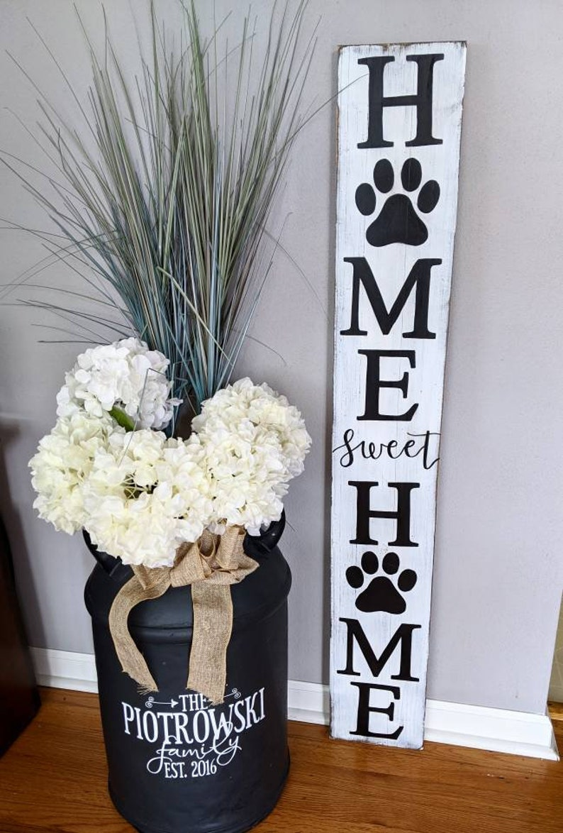 Home Sweet Home with Paw Dog Welcome Sign Front Porch Decor Fall Welcome  Sign Vertical Paw print Wedding Gift Cat PaintandPineDesigns