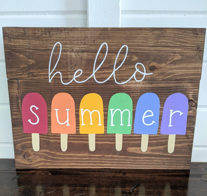 Hello Summer Wood Sign Popsicle Summer Decor Paint and Pine image 0