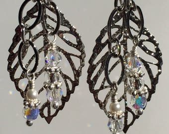 Silver Large Leaf Earrings with Crystal AB dangles