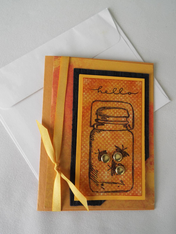 Handmade Firefly Greeting Card Autumn Card Blank Card Etsy