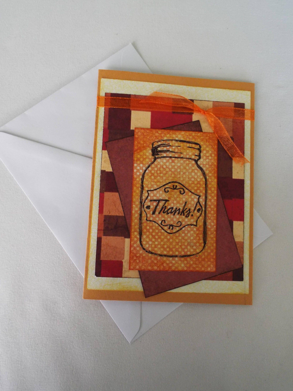 Handmade Autumn Thank You Card Blank Card Etsy