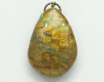 Golden Sparkle, Polymer Clay pendant, glistening gold, abstract design, clay bead, jewelry component, rustic bead, teardrop pendant