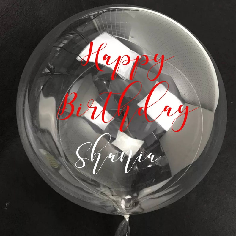 Custom Vinyl Decal for Personalized Balloon Name Decal Clear Round Balloon with Custom Text Balloon Sticker Name Sticker Gift Box Decal