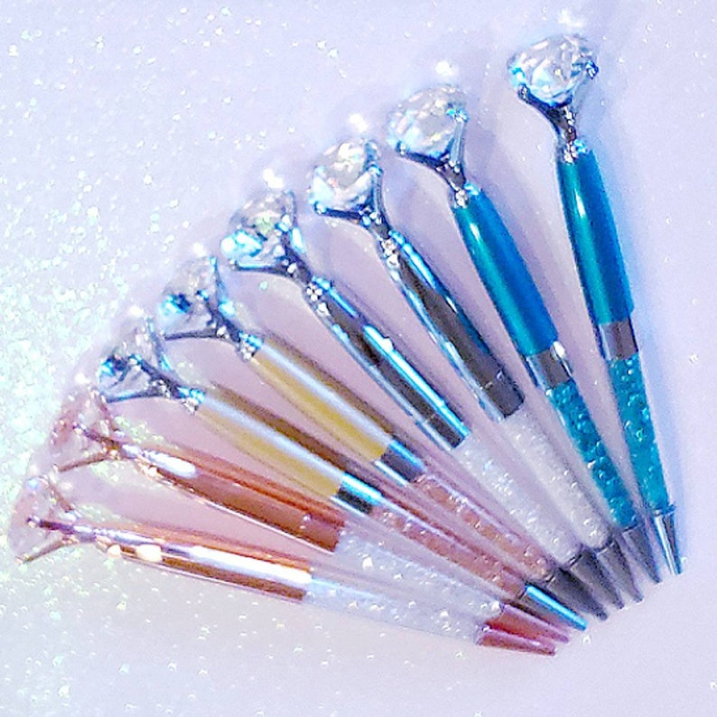 Rose Gold Diamond Pen/ Bridesmaid Gift/Guest Book Pen/Crystal image 0