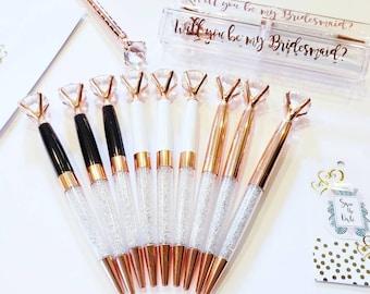 Diamond Pen Rose Gold Pen Crystal Pen Bridesmaid Gift Wedding Guest Book Bridal Shower Pen Planner Accessories.