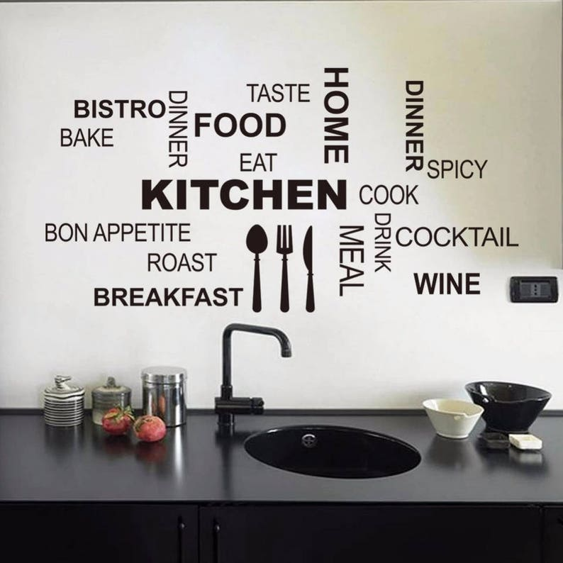 Kitchen Wall Quotes Wall Decals Vinyl Wall Decor Kitchen Mural Removable  Wall Decals Wine Bistro Wall Art Kitchen Decor Kitchen Decals