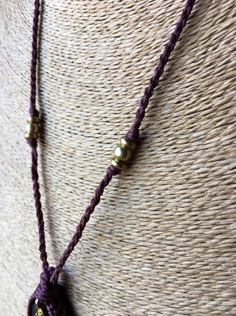 Labradorite Crystal Labradorite Cabochon Necklace Hemp Stone Macrame Cabochon Labradorite Stone Hemp Macrame Necklace Cabochon