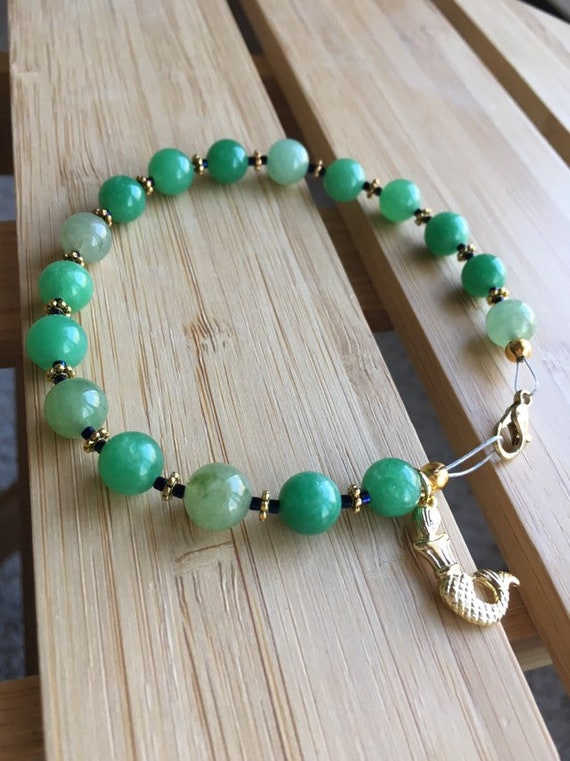 Unique bracelet Beaded bracelet Mermaid bracelet Poolside jewelry Handmade bracelet Beach jewelry Green bracelet