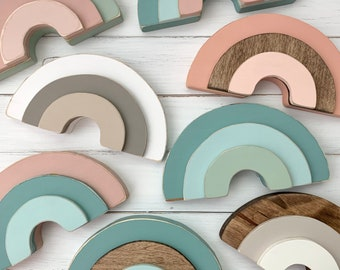 Solid Painted Wood Rainbow - hand painted wooden rainbow decor - rainbow nursery - shelf sitter