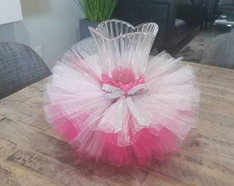715d49ef04 Hot Pink and sparkle vase tutu skirt. Candy jar tutu.Baby shower  decoration. Wedding decoration.