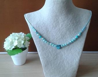Blue Choker + various blue beads