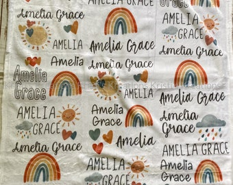 personalized name baby blanket, custom, plush, rainbow, weather, baby shower gift
