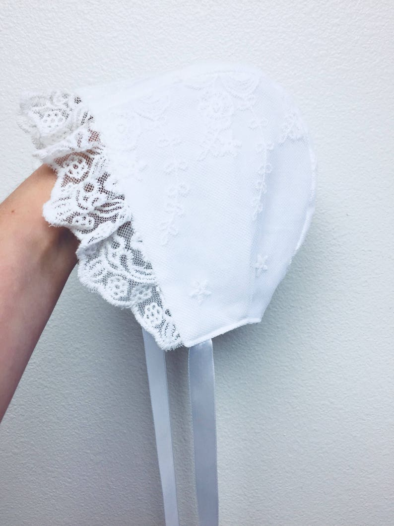 New Handmade White Satin with White Lace and Trim Baby Bonnet Elegant