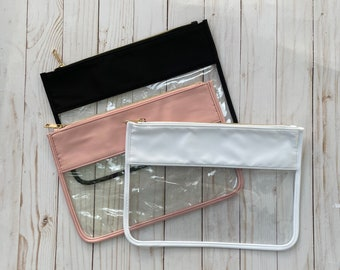 Clear Zipper Pouch, Personalized with Chenille Letters, Travel Pouch
