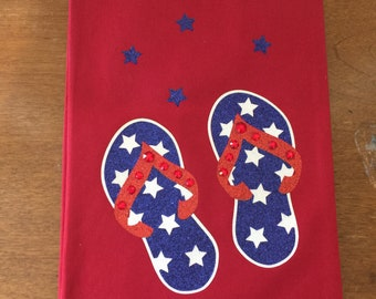5d3daf5e2 Summer kitchen towel ..decor for the home or beach house...flip flop sandals  with Swarovski crystals