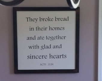 They broke break wood sign, Wooden sign, Dinning room decor, Religious sign,They broke break in their homes, Scripture art, wall art