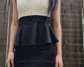 Black// White Lace Top Dress