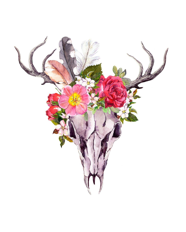 Boho sticker bohemian sticker boho skull antlers with etsy zoom izmirmasajfo